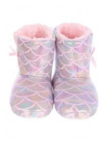 Girls Pink Mermaid Slipper Boots