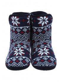 Boys Navy Fairisle Slipper Boots