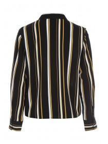 Womens Black and Gold Stripe Tie Front Shirt