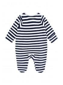 Baby Boys Navy Stripe Velour Sleepsuit