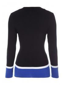 Womens Black Colourblock Ribbed Top