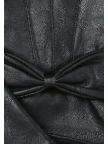 Womens Black Bow Leather Gloves