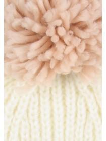 Womens Cream Pom Hat