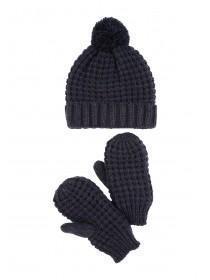 Womens Navy Lurex Hat and Mitten Set
