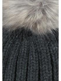 Womens Charcoal Ribbed Pom Beanie Hat