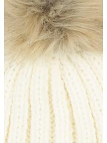 Womens Cream Ribbed Pom Beanie Hat