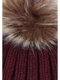 Womens Burgundy Ribbed Pom Beanie Hat