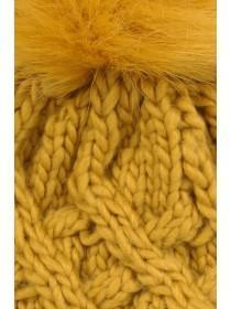 Womens Mustard Waffle Pom Beanie Hat