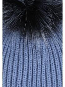 Womens Blue Pom Beanie Hat