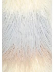 Womens Grey Stripe Shaggy Faux Fur Stole Scarf