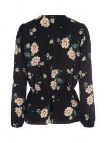Womens Black Floral Wrap Top