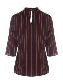 Womens Black Stripe Twist Top