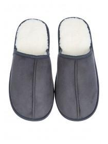 Mens Grey Mule Slippers