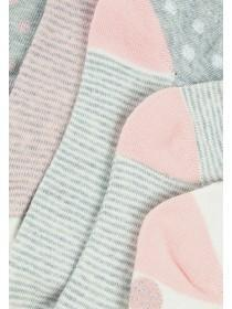 Womens 5pk Grey and Pink Trainer Socks