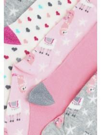 Womens 5pk Pink Llama Socks