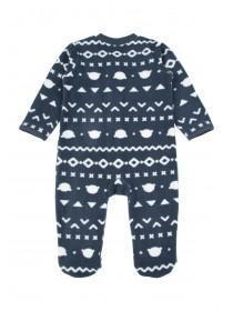 Baby Boys Navy Fairisle Fleece Sleepsuit