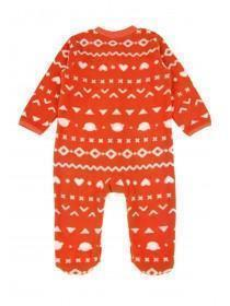 Baby Girls Red Fairisle Fleece Sleepsuit