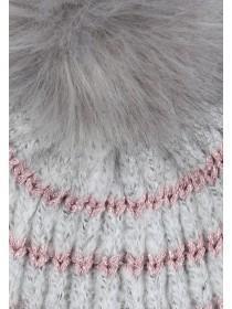 Womens Grey Glitter Stripe Beanie Hat