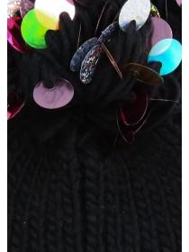 Womens Black Sequin Pom Beanie Hat