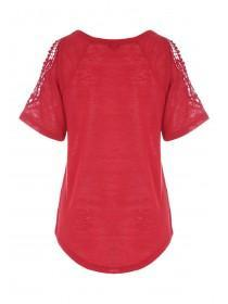 Womens Red Lace Detail Cold Shoulder Top