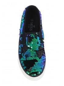 Older Girls Black Flip Sequin Skater Trainers