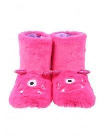 Womens Hot Pink 3D Monster Slipper Boots