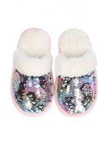 Younger Girls Multicolour Flip Sequin Mule Slippers