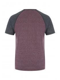 Mens Burgundy Grandad Collar T-Shirt