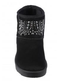 Womens Black Faux Fur Lined Studded Boots