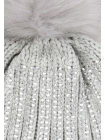Womens Grey Bling Beanie Hat
