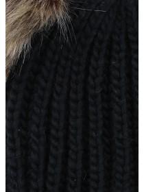 Womens Black Double Pom Beanie Hat