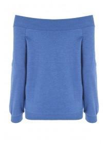 Womens Blue Bardot Sweatshirt