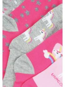 Younger Girls 5pk Pink Unicorn Socks