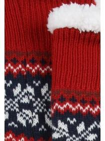 Mens 1pk Red Fairisle Slipper Socks