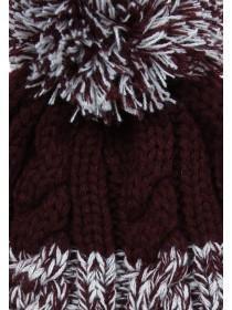 Mens Burgundy Stripe Beanie Hat