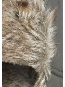 Mens Khaki Faux Fur Hat