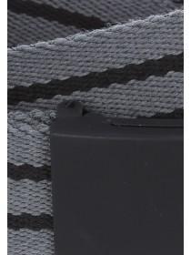 Mens Grey Stripe Webbing Belt