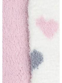 Girls 2pk Pink Heart Fluffy Socks