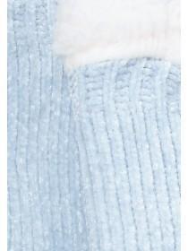 Womens Light Blue Chenille Slipper Socks