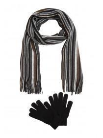 Mens Khaki Scarf and Gloves Set