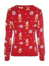 Womens Red Gingerbread Man Christmas Jumper