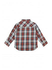 Younger Boys Red and Grey Check Shirt