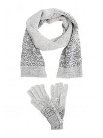 Womens Grey Glitter Gloves and Scarf Set