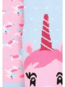 Girls 2pk Unicorn Slipper Socks