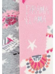 Girls 2pk Llama Slipper Socks