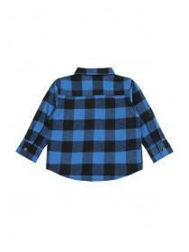 Younger Boys Blue Flannel Check Shirt
