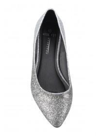 Womens Silver Ombre Glitter Flats