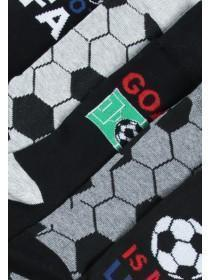 Mens 5pk Black Football Design Socks