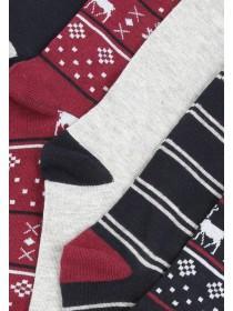 Mens 5pk Burgundy Fairisle Socks