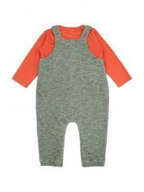 Baby Boys Khaki Fox Dungaree Set